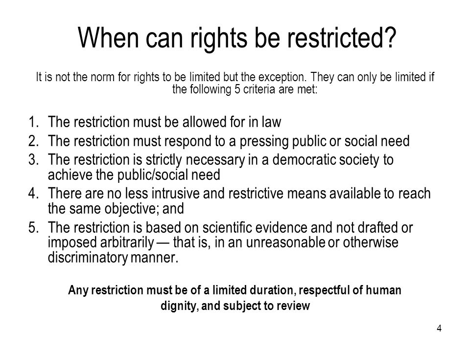 When can rights be restricted