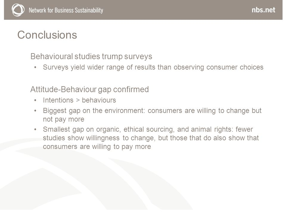 Conclusions Behavioural studies trump surveys