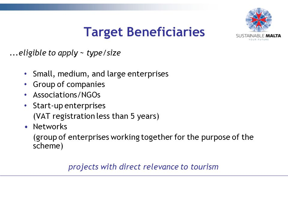 projects with direct relevance to tourism