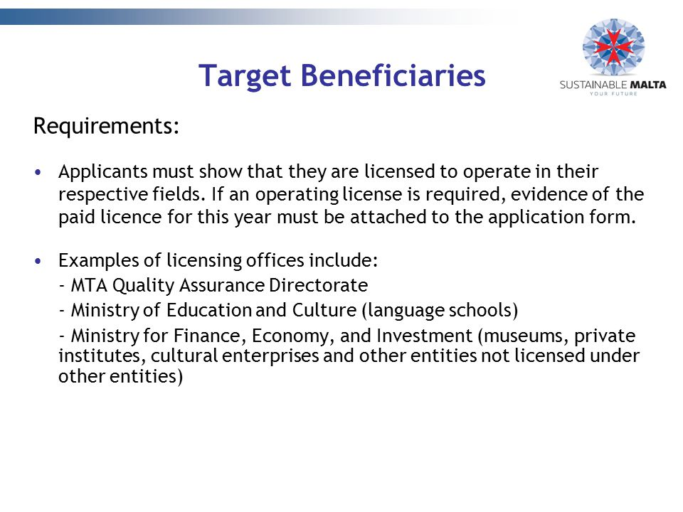 Target Beneficiaries Requirements:
