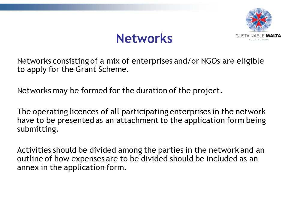 Networks Networks consisting of a mix of enterprises and/or NGOs are eligible to apply for the Grant Scheme.