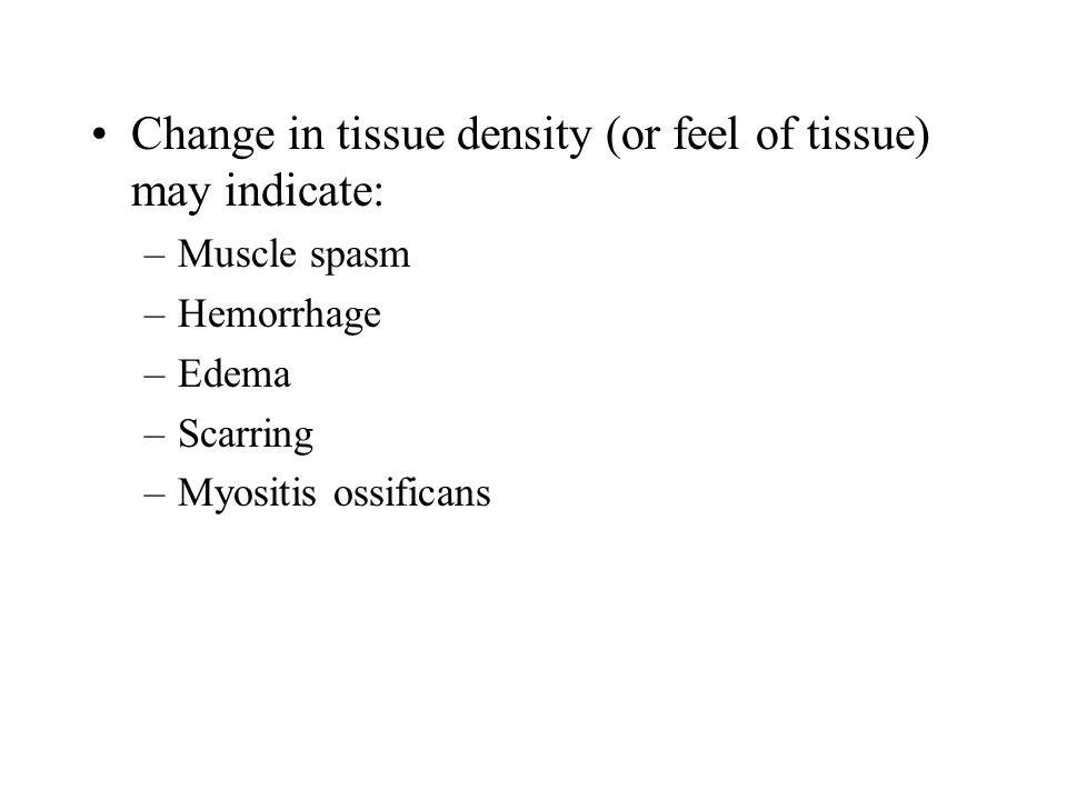 Change in tissue density (or feel of tissue) may indicate: