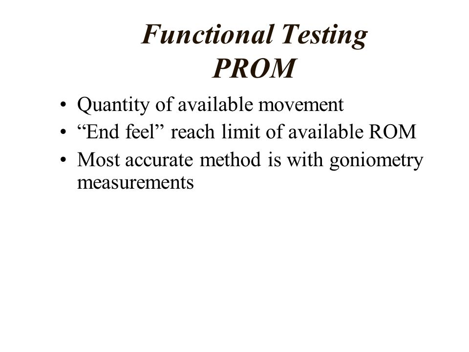 Functional Testing PROM