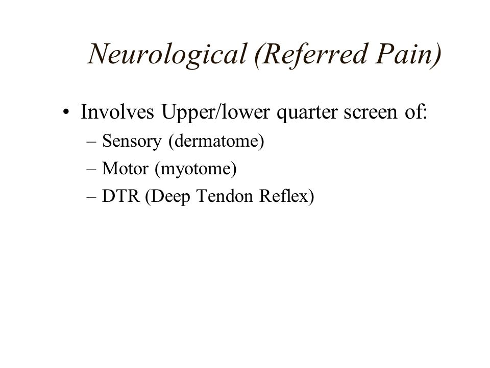 Neurological (Referred Pain)