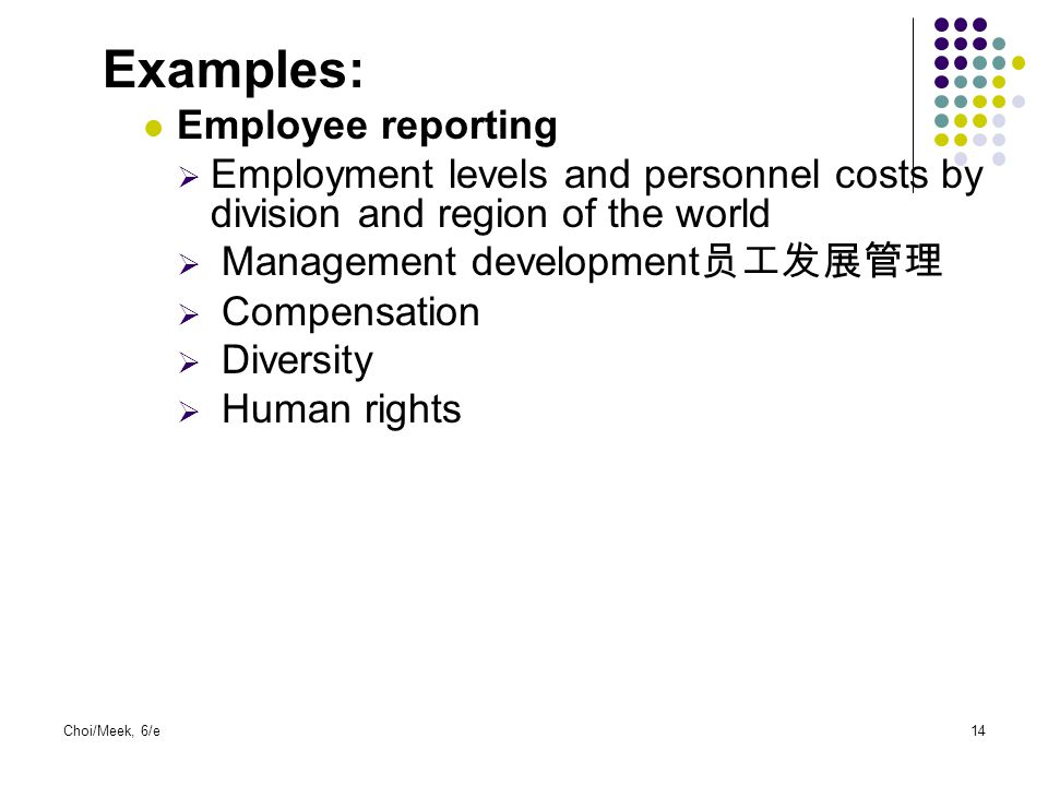 Examples: Employee reporting