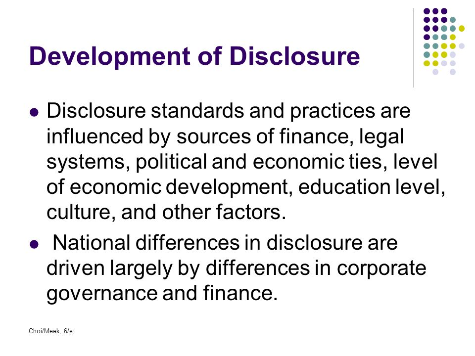 Development of Disclosure