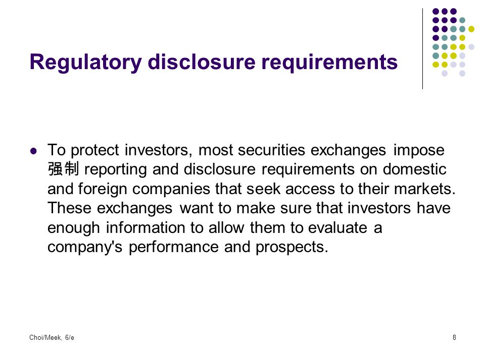 Regulatory disclosure requirements