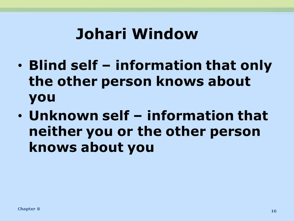 Johari Window Blind self – information that only the other person knows about you.