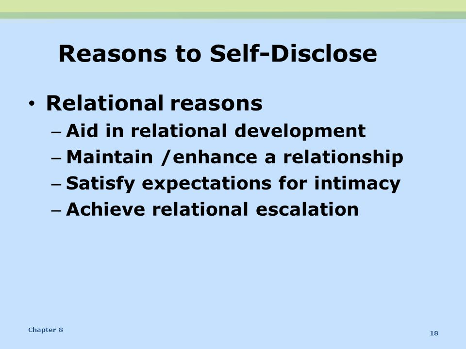 Reasons to Self-Disclose