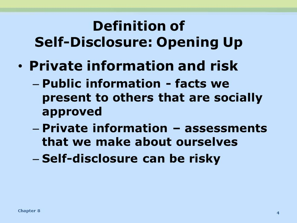Definition of Self-Disclosure: Opening Up