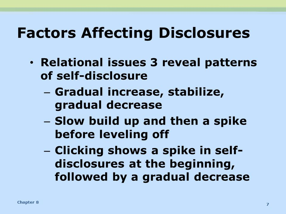 Factors Affecting Disclosures