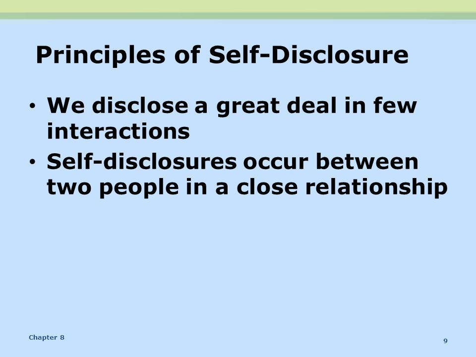 Principles of Self-Disclosure