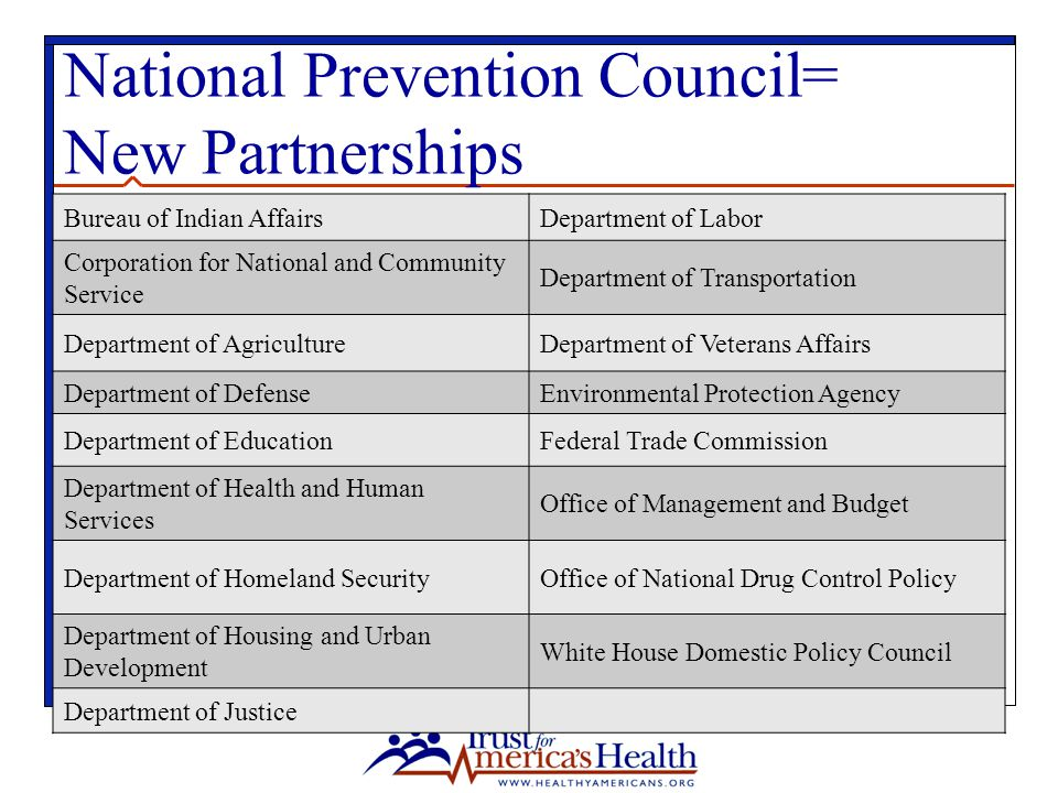 National Prevention Council= New Partnerships