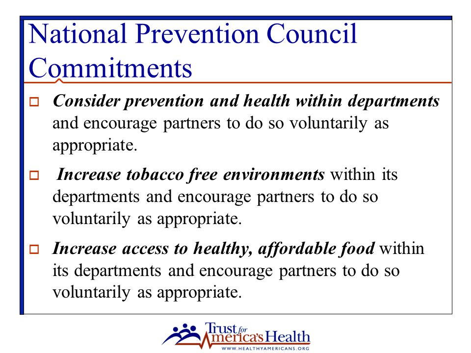 National Prevention Council Commitments