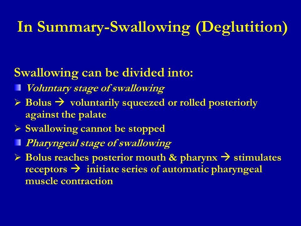 In Summary-Swallowing (Deglutition)