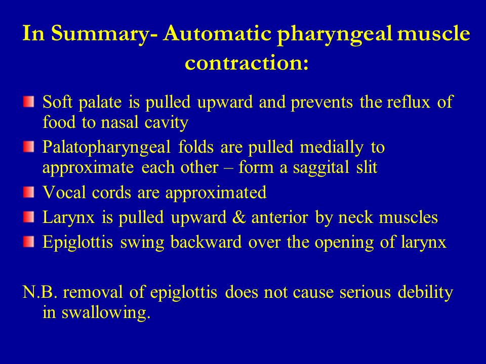 In Summary- Automatic pharyngeal muscle contraction: