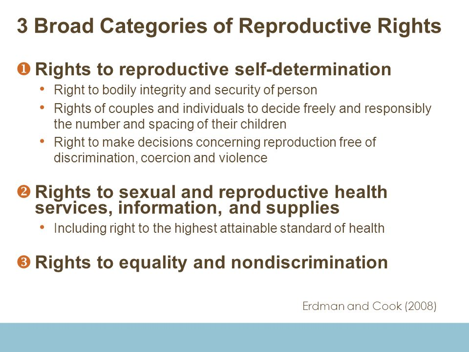 3 Broad Categories of Reproductive Rights