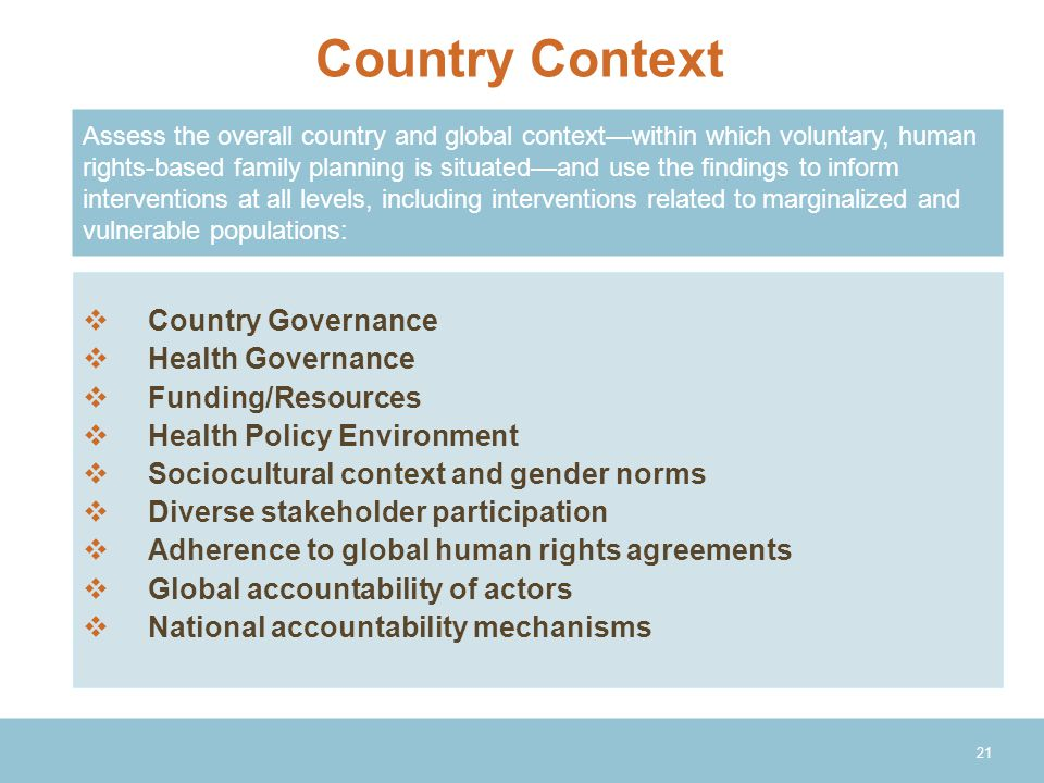 Country Context Country Governance Health Governance Funding/Resources