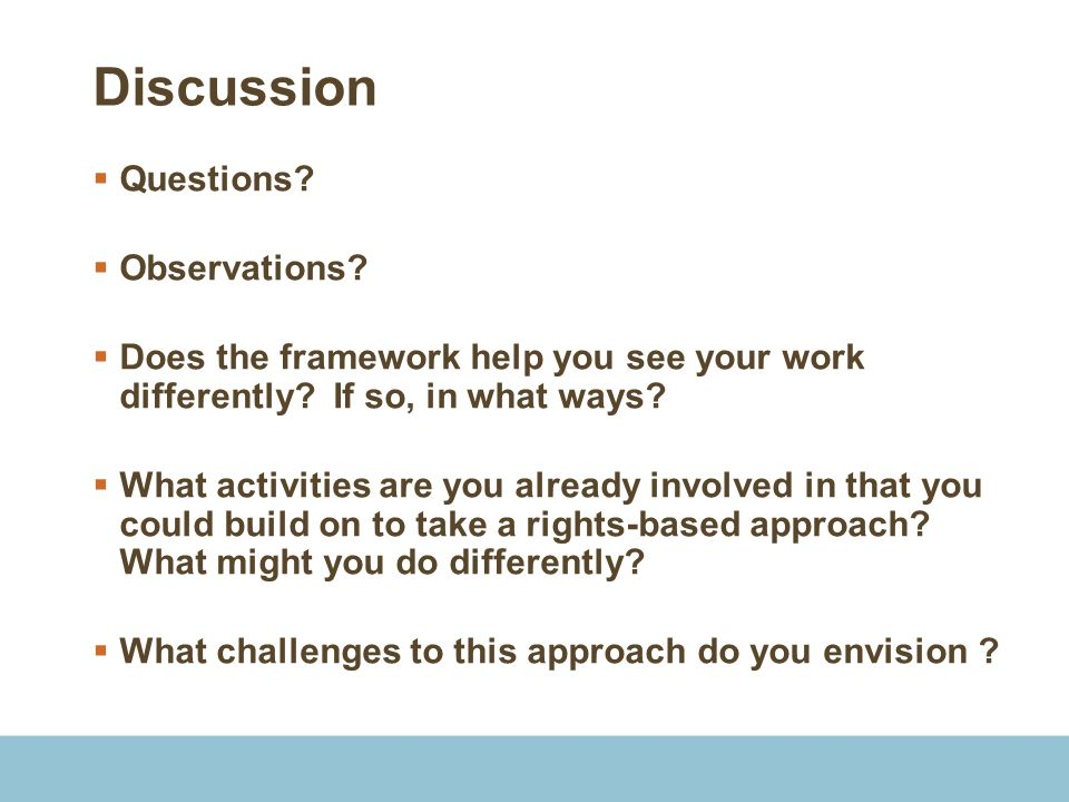 Discussion Questions Observations