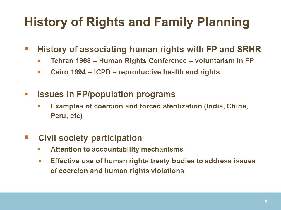 History of Rights and Family Planning