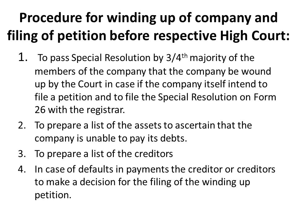 Procedure for winding up of company and filing of petition before respective High Court: