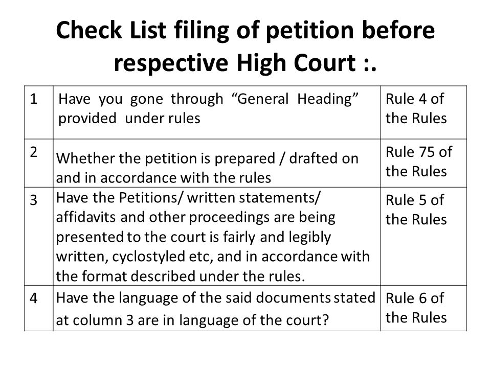 Check List filing of petition before respective High Court :.