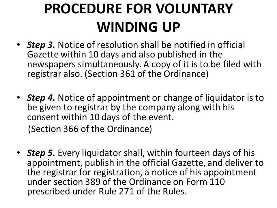 PROCEDURE FOR VOLUNTARY WINDING UP