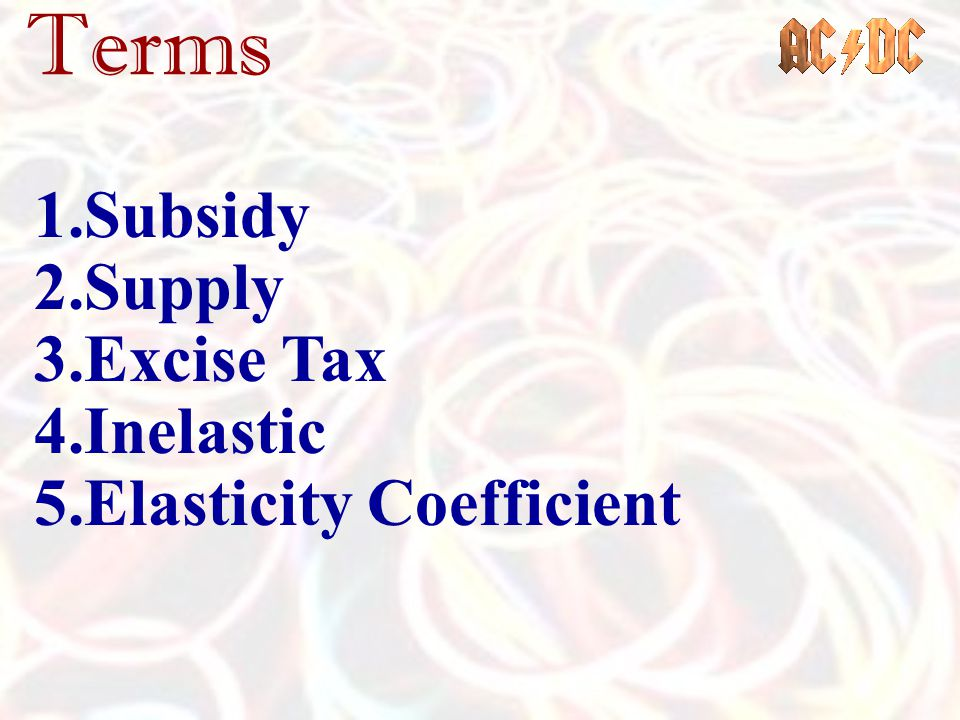 Terms Subsidy Supply Excise Tax Inelastic Elasticity Coefficient
