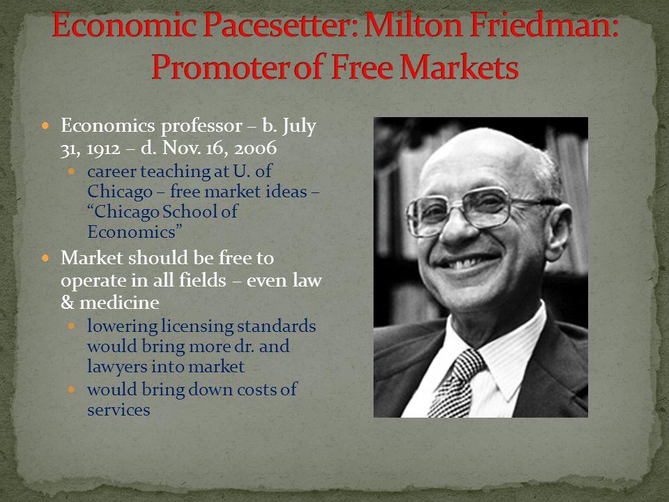 Economic Pacesetter: Milton Friedman: Promoter of Free Markets
