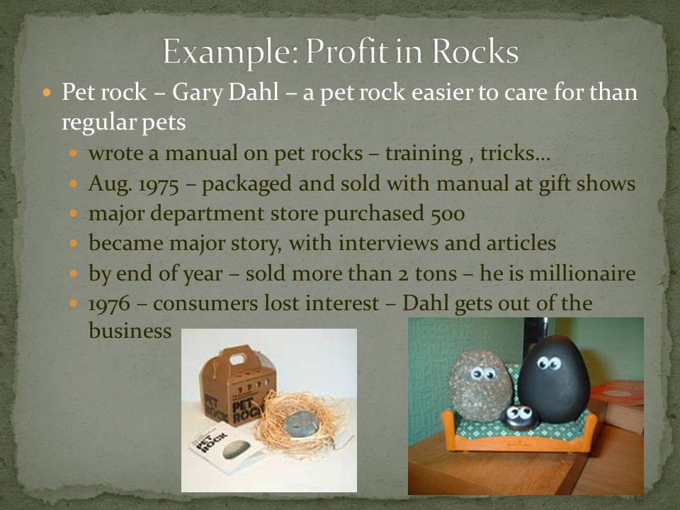 Example: Profit in Rocks