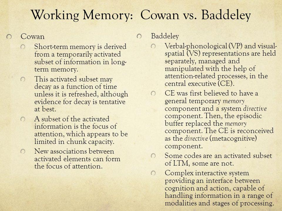 Working Memory: Cowan vs. Baddeley