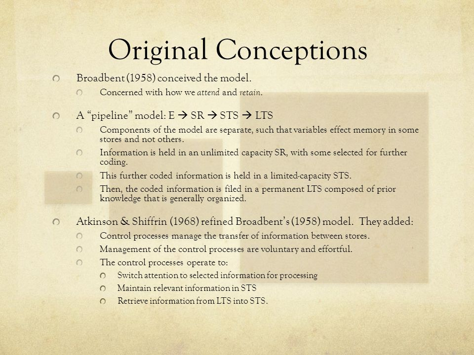 Original Conceptions Broadbent (1958) conceived the model.