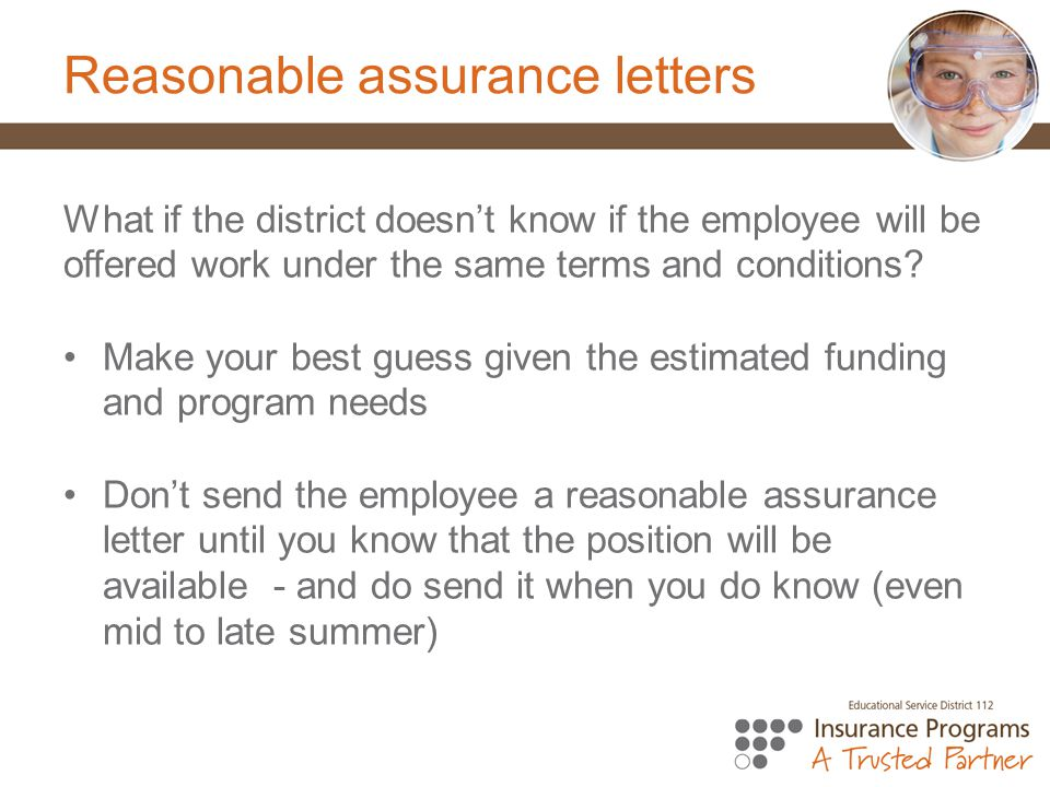 Reasonable assurance letters