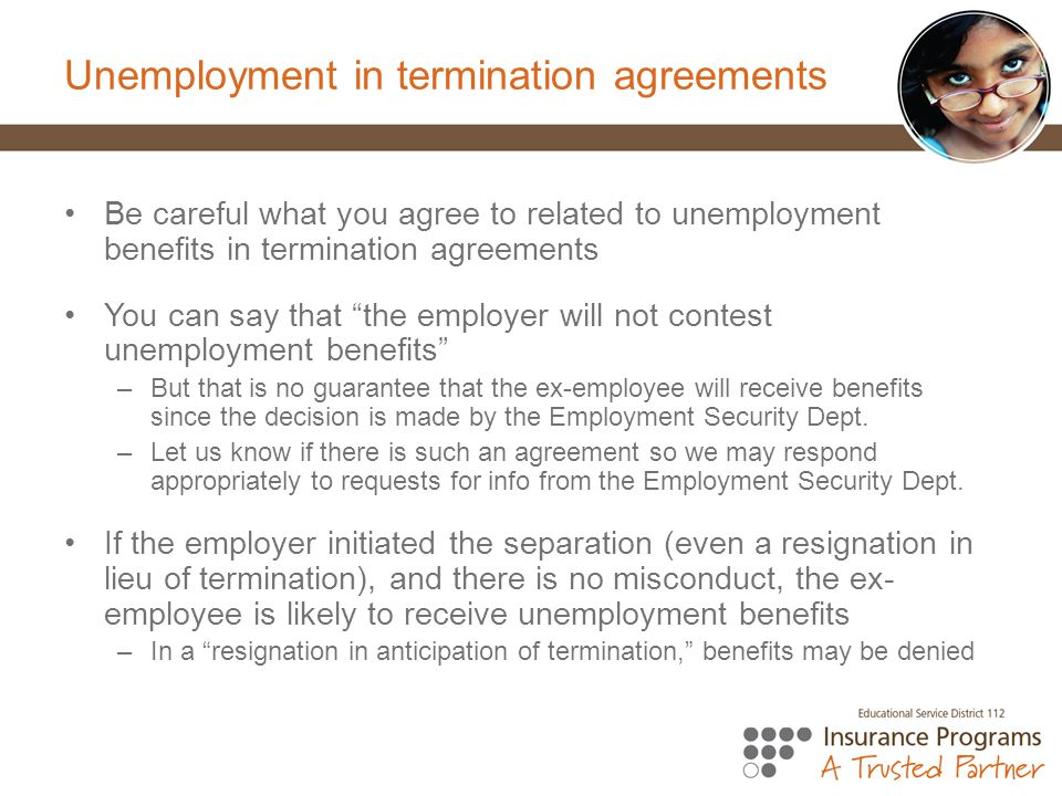 Unemployment in termination agreements
