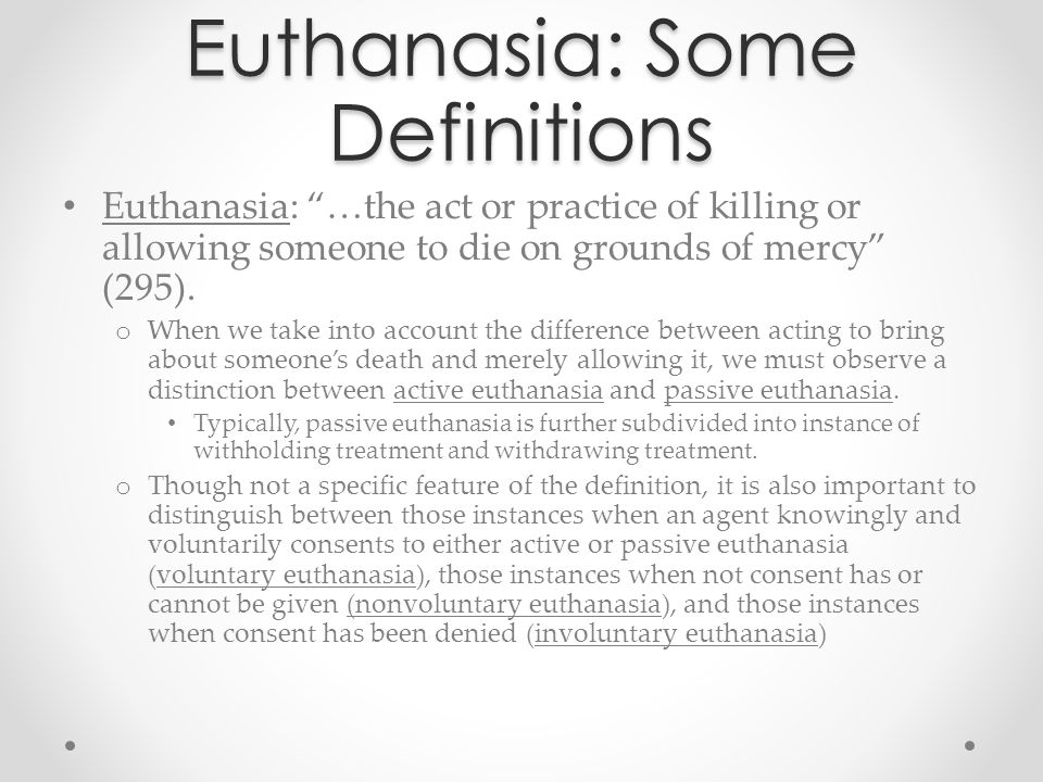 Euthanasia: Some Definitions