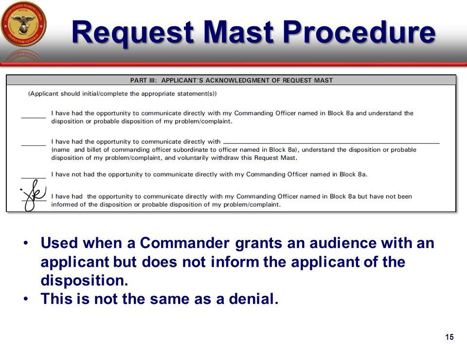 Request Mast Procedure