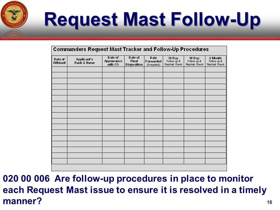 Request Mast Follow-Up