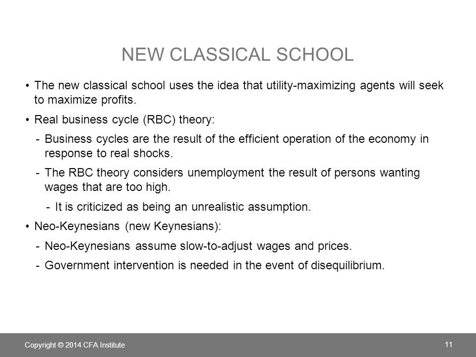 New Classical School The new classical school uses the idea that utility-maximizing agents will seek to maximize profits.