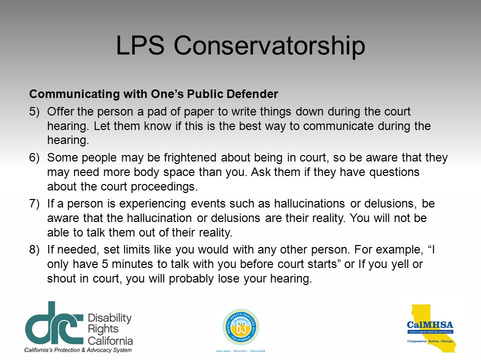 LPS Conservatorship Communicating with One's Public Defender