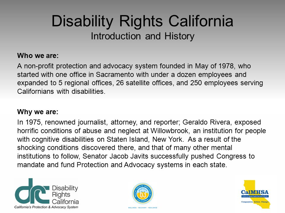 Disability Rights California Introduction and History