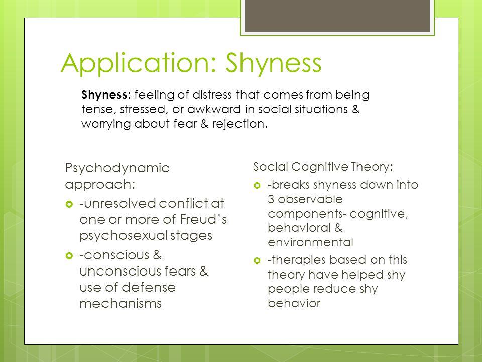 Application: Shyness Psychodynamic approach: