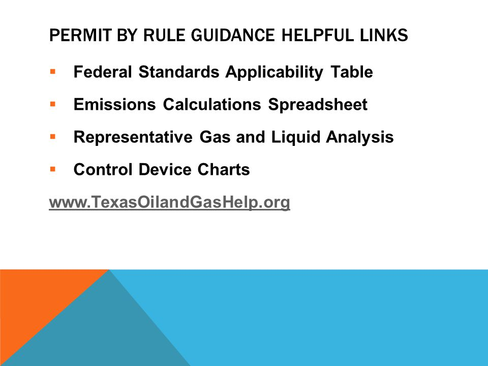 Permit by Rule Guidance helpful Links