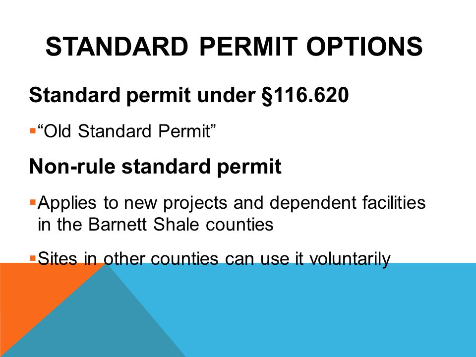 Standard Permit Options