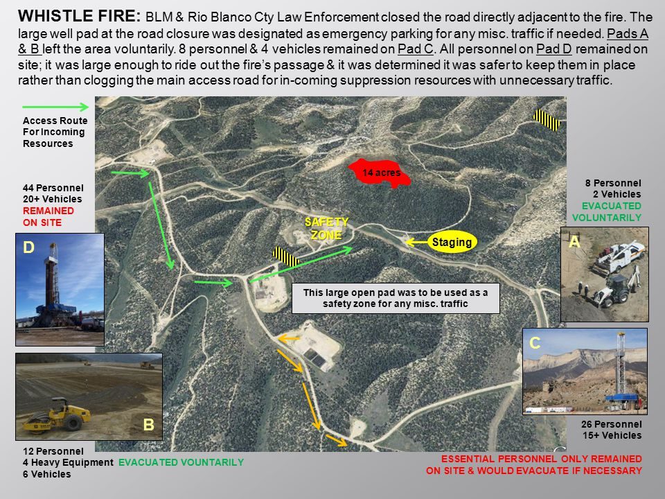 WHISTLE FIRE: BLM & Rio Blanco Cty Law Enforcement closed the road directly adjacent to the fire. The large well pad at the road closure was designated as emergency parking for any misc. traffic if needed. Pads A & B left the area voluntarily. 8 personnel & 4 vehicles remained on Pad C. All personnel on Pad D remained on site; it was large enough to ride out the fire's passage & it was determined it was safer to keep them in place rather than clogging the main access road for in-coming suppression resources with unnecessary traffic.