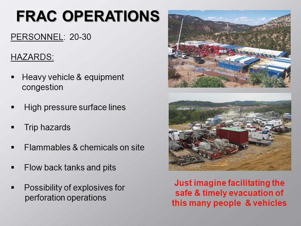 FRAC OPERATIONS PERSONNEL: 20-30 HAZARDS: