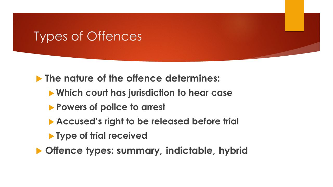 Types of Offences The nature of the offence determines: