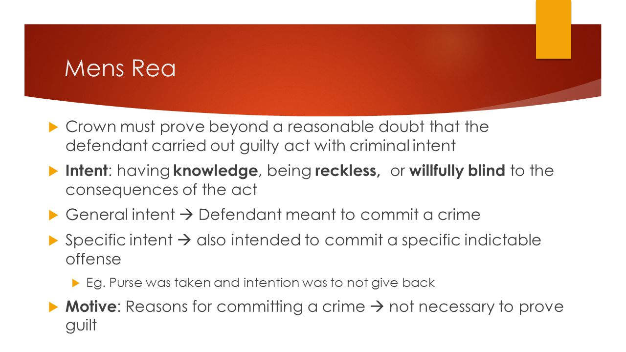 Mens Rea Crown must prove beyond a reasonable doubt that the defendant carried out guilty act with criminal intent.