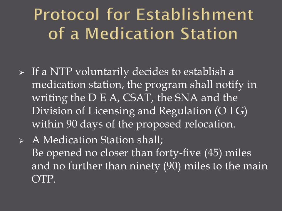 Protocol for Establishment of a Medication Station