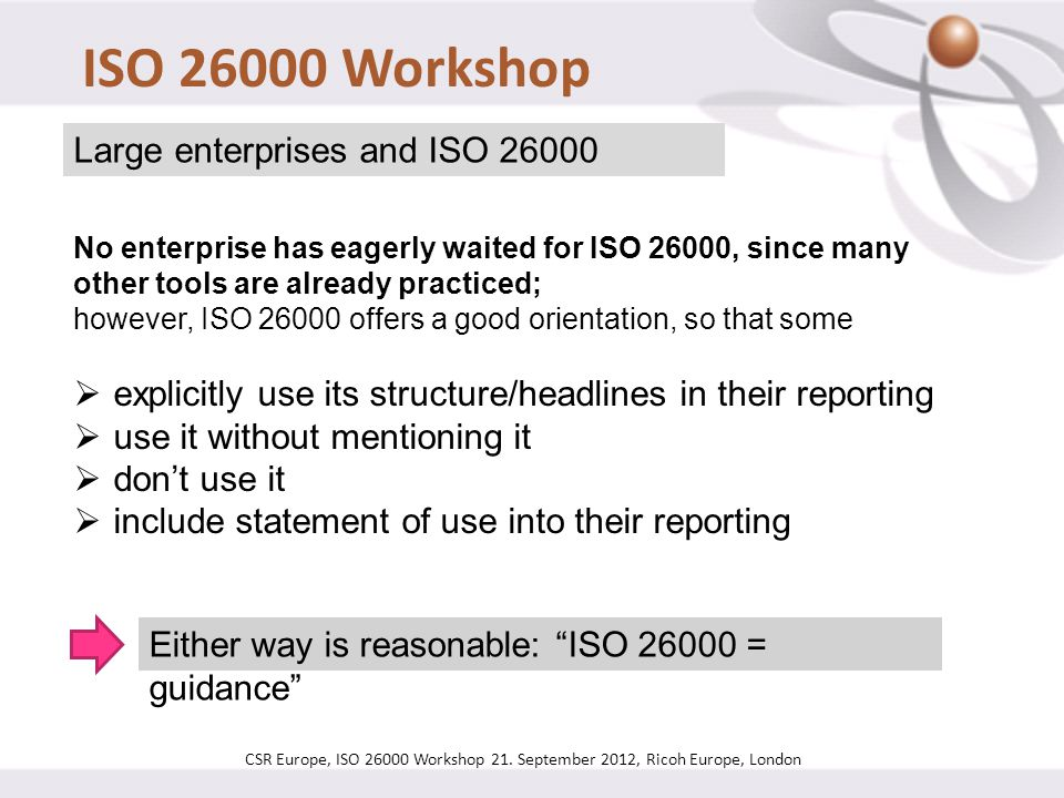 ISO 26000 Workshop Large enterprises and ISO 26000