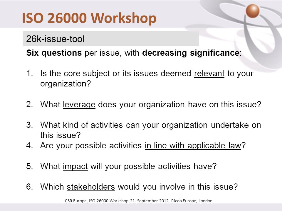 ISO 26000 Workshop 26k-issue-tool